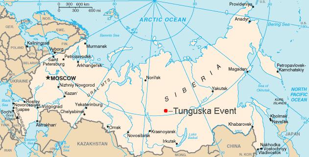 Vị trí xảy ra vụ nổ Tunguska (chấm đỏ). Đồ họa: Wikipedia