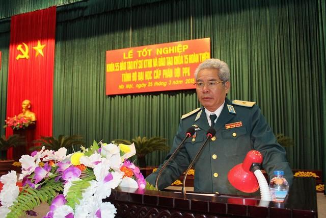 Thiếu tướng, PGS - TS Trần Văn Thanh, Giám đốc Học viện phát biểu giao nhiệm vụ cho học viên
