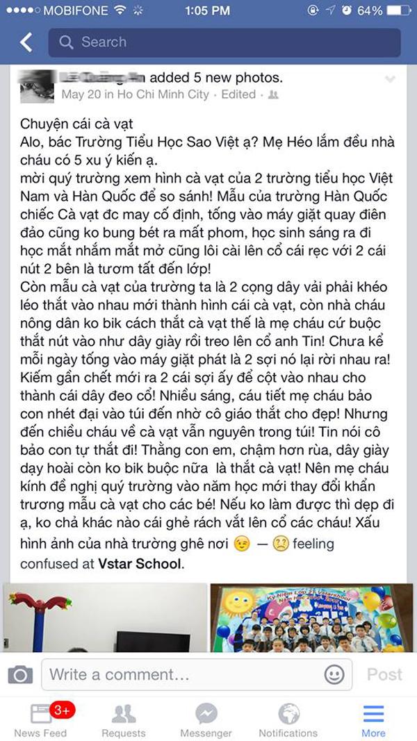Nguyên văn lời chê cà vạt xấu khiến con mình bị đuổi học của chị Nguyễn Hiếu (Ảnh chụp Facebook)