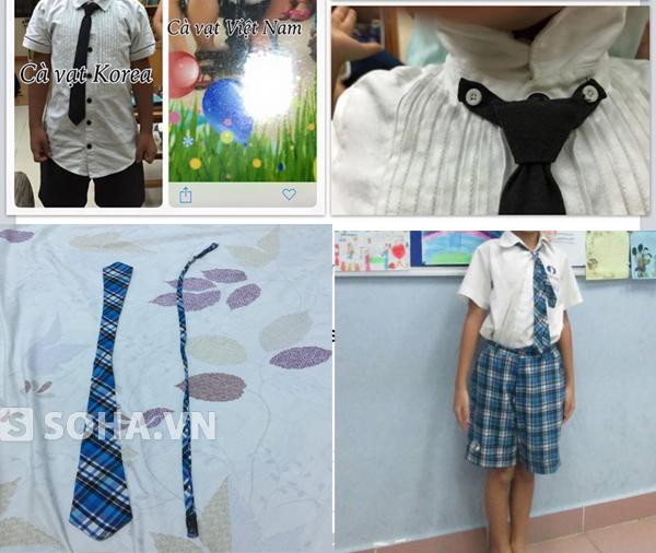 Sự khác nhau giữa cà vạt Hàn Quốc (trên) và cà vạt của trường Vstar (dưới).