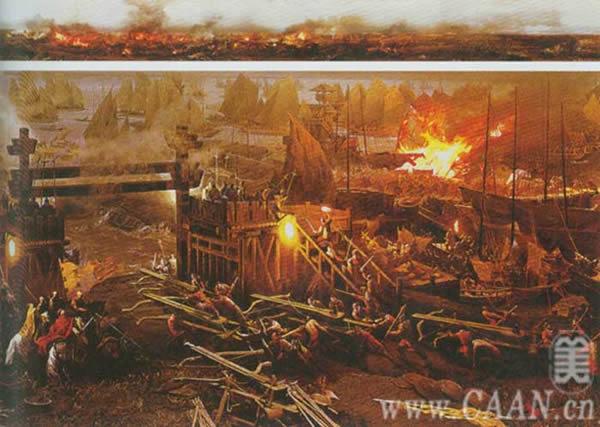 Trong điều kiện gió lớn và bị xích vào nhau, các thuyền chiến của Tào Tháo nhanh chóng bắt lửa khiến một số lớn binh mã chết cháy trên thuyền hoặc chết đuối dưới sông.