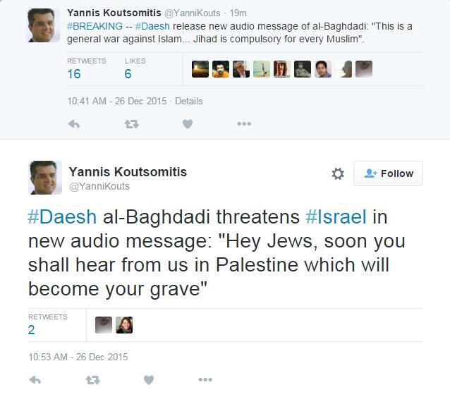 Chia sẻ trên Twitter của Yannis Koutsomitis, phóng viên hãng tin al-Jazeera.