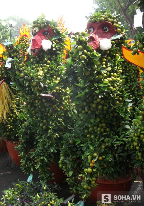 Tại vườn hoa Gia Định, những chậu quất tạo hình khỉ thú vị chào mừng xuân Bính Thân. Chị Khéo, chủ gian hàng ở Bến Tre cho biết phải mất 3 tháng và nhiều công sức mới tạo hình được những chú khỉ như thế. Giá 5 triệu đồng một chậu.