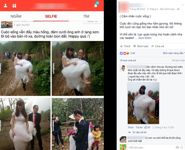 Hình ảnh Chí Công cõng vợ qua vũng bùn được cư dân mạng khen ngợi