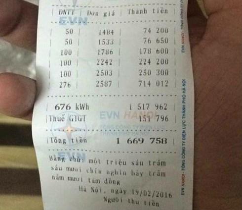 Hóa đơn tiền điện tháng 2 của nhiều hộ gia đình tăng vọt. (Ảnh: Internet)