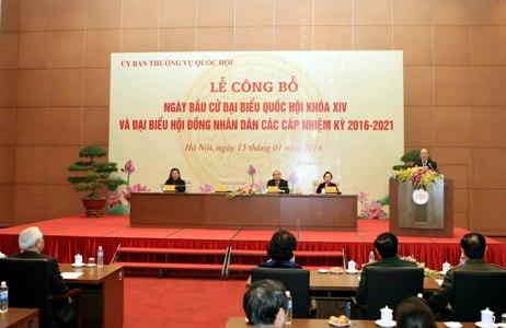Lễ công bố Ngày bầu cử đại biểu Quốc hội khóa XIV và đại biểu Hội đồng nhân dân các cấp nhiệm kỳ 2016-2020. Ảnh: VGP/Thành Chung