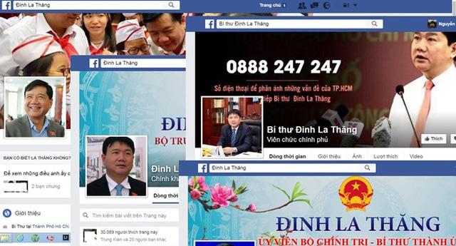 Ảnh chụp màn hình một số tài khoản facebook mang tên vị Bí thư Thành ủy TP.HCM.