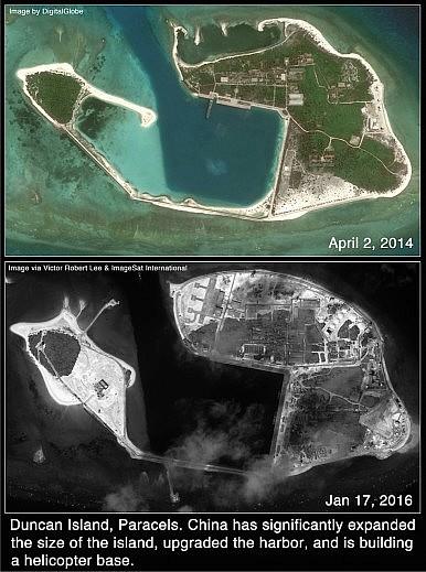 Đảo Quang Hòa trên ảnh vệ tinh chụp ngày 17/1/2016 cho thấy diện tích đảo đã tăng lên trông thấy, cảng biển đã được nâng cấp, và một sân bay trực thăng đang trong quá trình xây dựng.