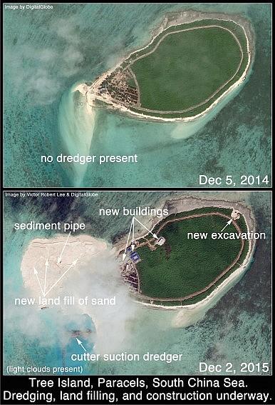 Đảo Cây trong ảnh chụp ngày 2/12/2015 cho thấy Trung Quốc đã bồi đắp trái phép một dải đất mới về phía tây Đảo Cây.