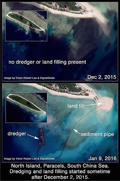 Có thể thấy rõ qua ảnh vệ tinh chụp ngày 9/1/2016 một chiếc máy vét bùn, đường ống trầm tích, và dải đất đang dần hình thành ở bên phải Đảo Bắc.