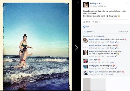 Hà Hồ khoe ảnh đi tắm biển cùng Subeo, hút 15.000 lượt like.