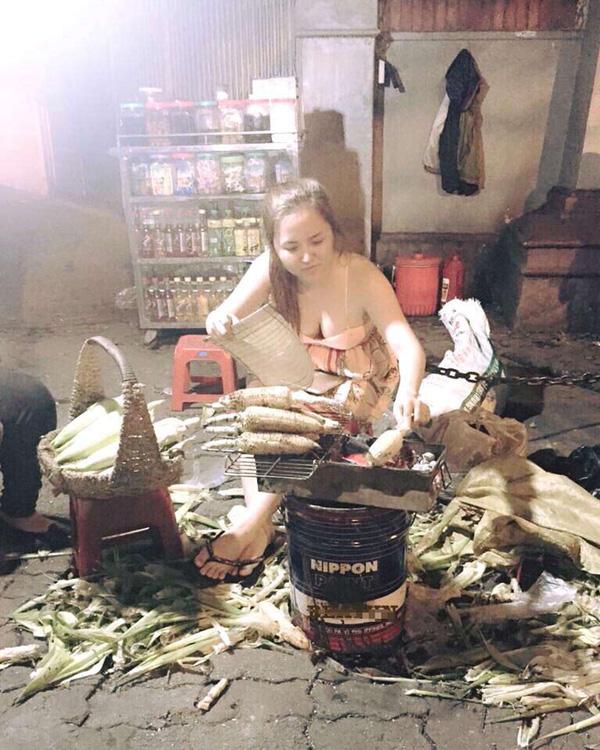Cô nàng bán ngô nướng cũng từng gây sốt mạng có vòng một khủng.
