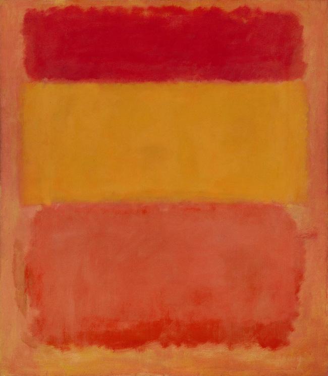 Bức Cam, đỏ, vàng được hoàn thiện năm 1961 bởi họa sĩ Mark Rothko và được bán với giá 86,9 triệu USD (khoảng 1.931 tỷ VND) tại cuộc đấu giá của Christie năm 2008. Bức tranh đơn giản được chia làm 3 phần, mỗi phần được tô màu khác nhau theo thứ tự từ trên xuống là cam, đỏ, vàng nhưng lại là bức tranh được giá cao nhất cho một tác phẩm nghệ thuật đương đại.