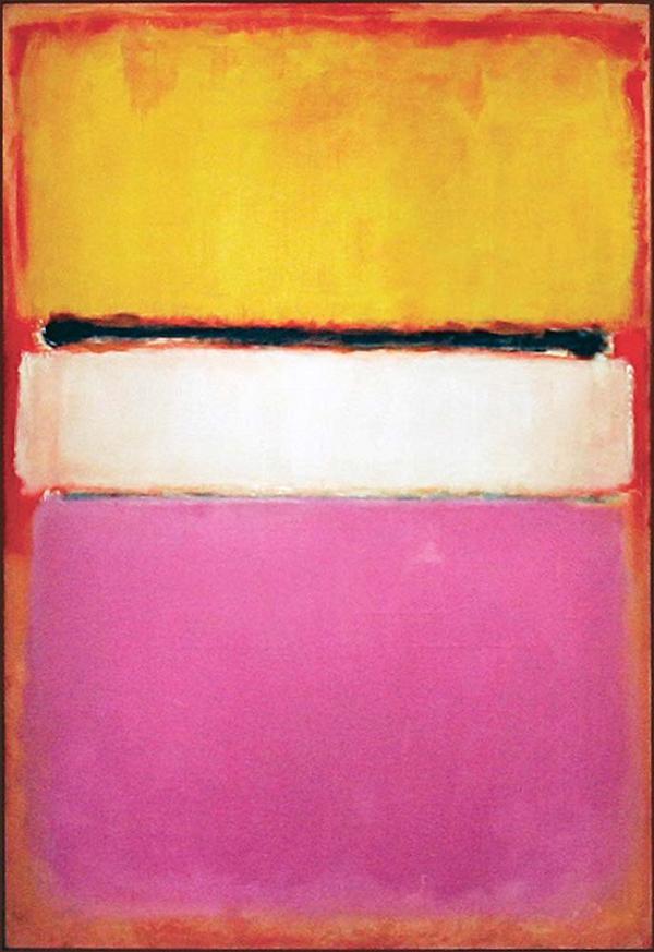 Một bức tranh khác của tác giả Mark Rothko mang tên Màu trắng trung tâm (Vàng, Hồng và Oải hương chen hồng nhung) được bán với giá 72,8 triệu USD (khoảng 1.617 tỉ đồng).