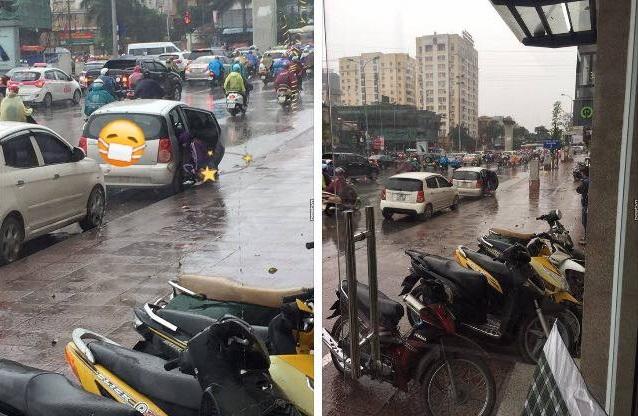 Hành động đáng xấu hổ của người phụ nữ giữa phố. (Nguồn ảnh: Quỳnh Mint)