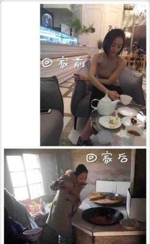 Cô gái này chẳng ngần ngại lăn vào bếp.