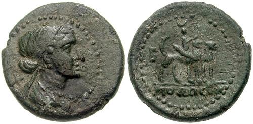 Những đồng xu cổ khắc hình nữ hoàng Cleopatra. Ảnh: Cart Wheel