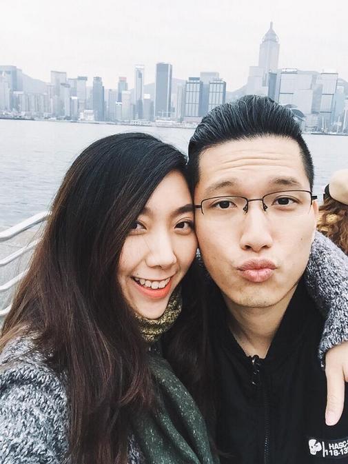 Huỳnh Mi và bạn trai người Hong Kong.
