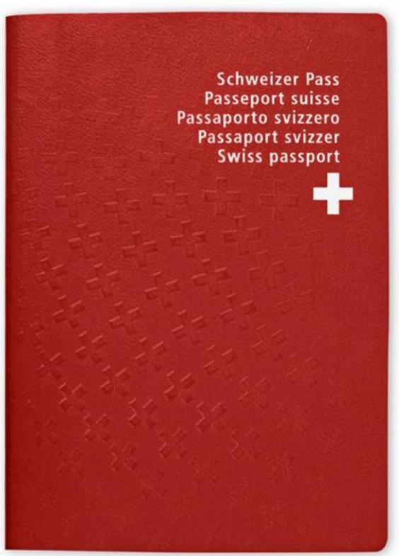 Hộ chiếu của Thụy Sĩ có màu đỏ tươi.