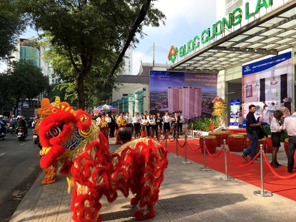 Công ty Quoc Cuong Land trong ngày khai trương. Ảnh: Dương Cầm