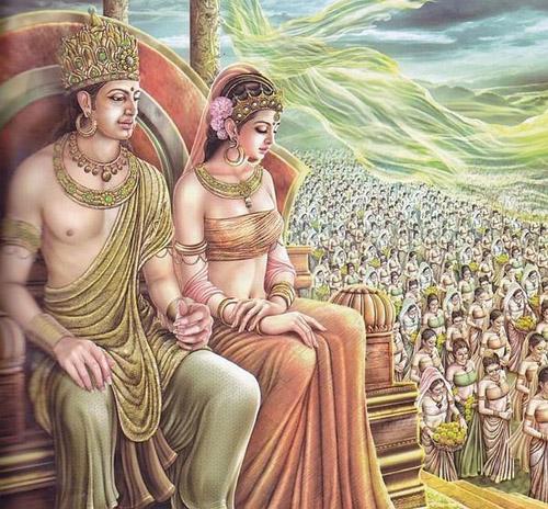 Hoàng đế Asoka và hoàng hậu.