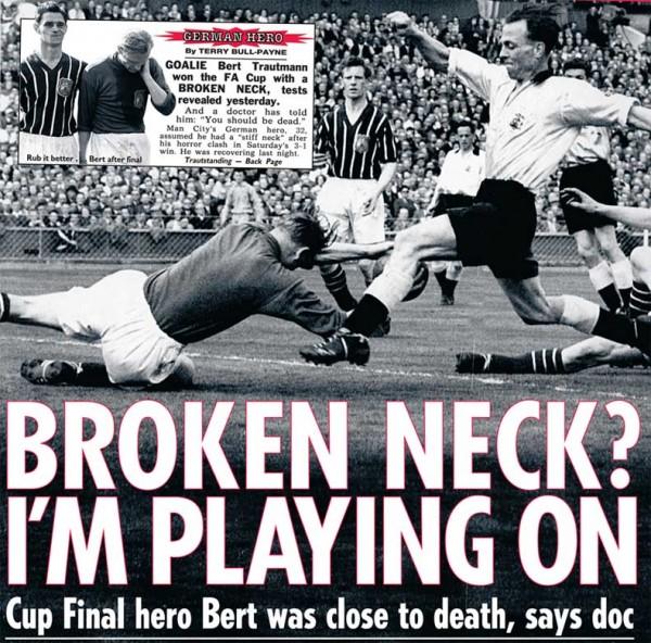 Báo Anh viết về pha chấn thương kỳ diệu của Bert Trautmann.