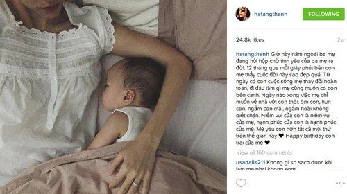 Con trai Tăng Thanh Hà trong bức hình duy nhất được mẹ công khai trên trang cá nhân, thu hút 24,8 nghìn lượt like.