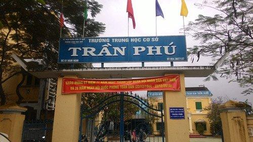 Trường THCS Trần Phú- nơi xảy ra vụ việc.