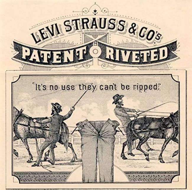 Quảng cáo của quần bò Levis cuối thế kỷ 19, đầu thế kỷ 20