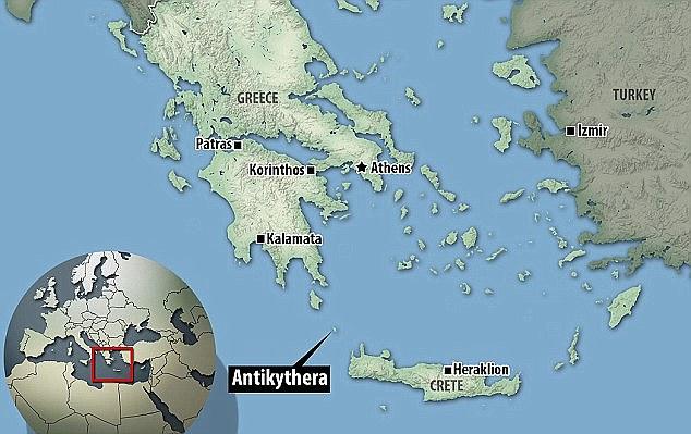 Vị trí đảo Antikythera trên bản đồ Hy Lạp