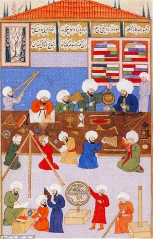 Hình vẽ cho thấy sự say mê nghiên cứu khoa học của các học giả thành Baghdad thời đó