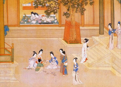 Tranh vẽ miêu tả phi tần, cung nữ trong hậu cung của nhà Minh.