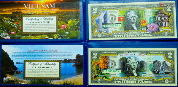 Tờ USD in hình địa danh Việt Nam.