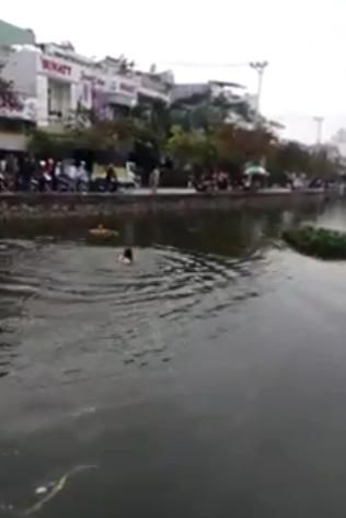 Khi không nhìn thấy nam thanh niên trên hồ, mọi người mới hốt hoảng hò nhau nhảy xuống tìm kiếm. (Ảnh cắt từ clip)
