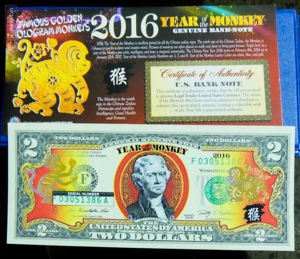 Linh vật chú khỉ cũng được in vào tờ USD được dùng để lì xì trong dịp Tết năm nay.