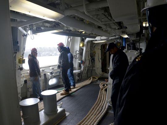 Hình ảnh bên trong tàu Zumwalt trong đợt thử nghiệm vừa qua.