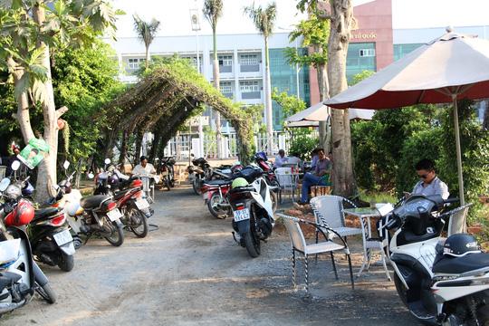 Xe máy đậu kín khu sân vườn