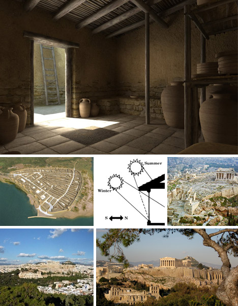 Sơ đồ thành phố dạng lưới ô vuông và kiến trúc nhà của người Hy Lạp cổ đại.