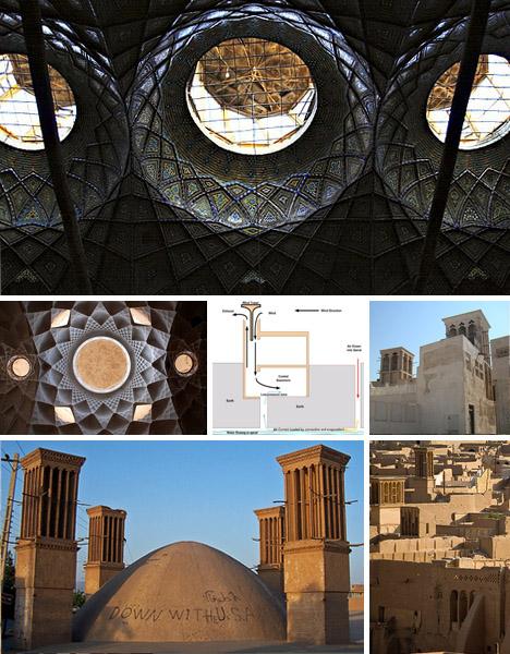 Thiết kế tháp gió của người Ba Tư cổ đại.