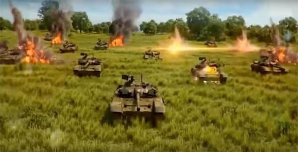 Cảnh xe tăng chiến đấu chủ lực T-90 bị đánh tơi tả bởi loại siêu vũ khí mới của Mỹ.