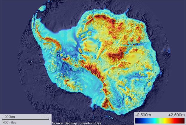 Bản đồ thể hiện dãy núi ngầm ở Nam Cực. Ảnh: BBC.