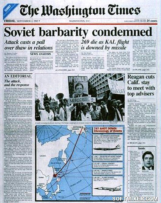 Báo chí Mỹ đồng loạt lên tiếng tố cáo Liên Xô đã bắn rơi máy bay dân dụng Hàn Quốc. Ảnh: Softmixer.com