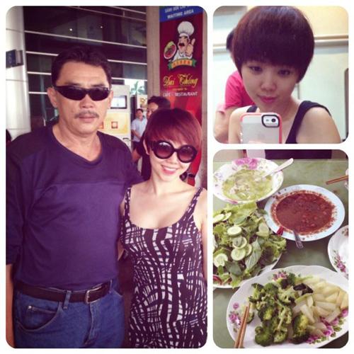 Khác với một số sao Việt, người hay tháp tùng Tóc Tiên lại là bố chứ không phải là mẹ.