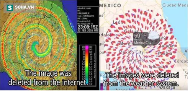 Ảnh vòng xoáy trên mạng internet đã bị xóa đi (bên trái). Ảnh vòng xoáy trên hệ thống dữ liệu thời tiết đã bị xóa đi (bên phải).