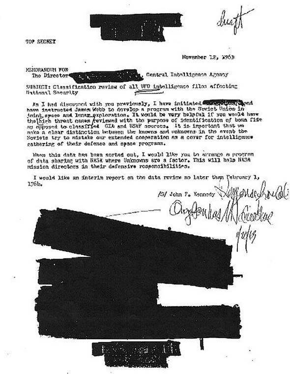 Bản copy công văn của tổng thống Mỹ John F. Kennedy gửi CIA vào ngày 12-11-1963.