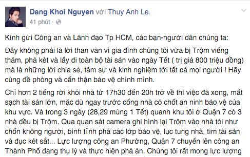 Ca sĩ Đăng Khôi chia sẻ trên trang cá nhân.