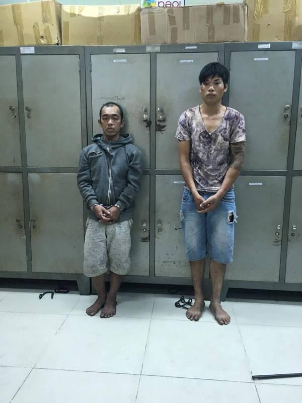 Đối tượng Thanh và Phong tại cơ quan Công an.