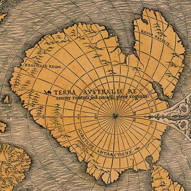 Bản đồ giả định của lục địa Terra Australis trên bức vẽ của các nhà địa lý thế kỷ 15. Ảnh: Internet.