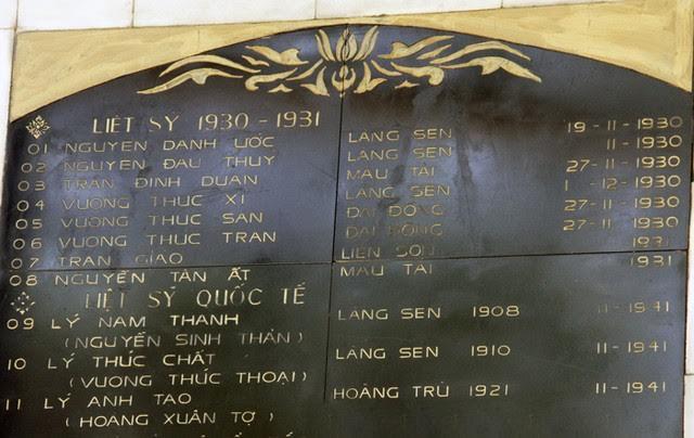 Tên tuổi các chiến sĩ được vinh danh trên đài tưởng niệm các anh hùng liệt sĩ tại xã Kim Liên, huyện Nam Đàn, tỉnh Nghệ An.