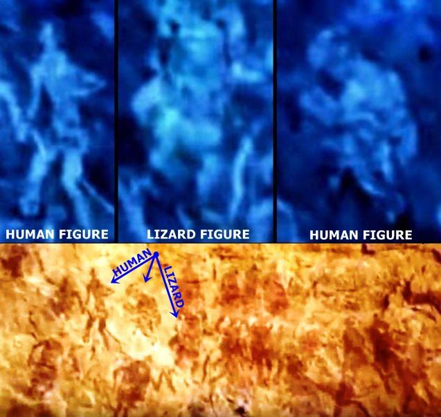 Phóng to ba hình vẽ đáng chú ý nhất. Ở giữa là hình vẽ bò sát giống người. Hai bên là hình người.